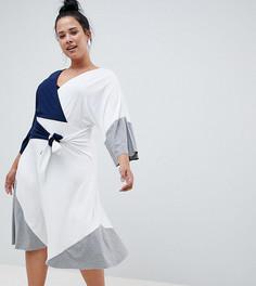 Платье миди колор блок ASOS DESIGN Curve - Мульти