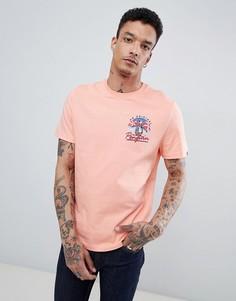 Розовая футболка в стиле 80-х с принтом на спине Original Penguin - Розовый