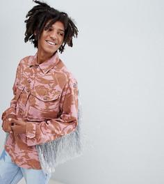 Окрашенная oversize-куртка с камуфляжным принтом и блестящей бахромой Milk It Vintage - Розовый