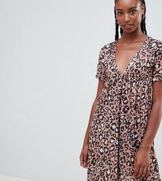 Свободное хлопковое платье с леопардовым принтом ASOS DESIGN Tall Ultimate - Мульти