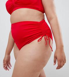 Плавки бикини с завышенной талией и сборками по бокам Zizzi - Красный