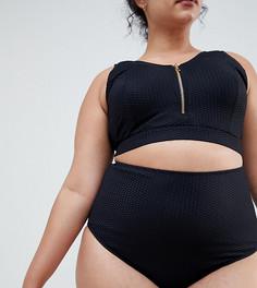 Фактурные плавки бикини с завышенной талией Zizzi - Черный