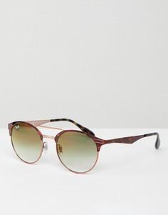 Круглые солнцезащитные очки с двойной планкой Ray-Ban - Коричневый