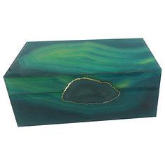 """Шкатулка """"Зеленый агат"""" из стекла для мелочей, Феникс-Презент"""