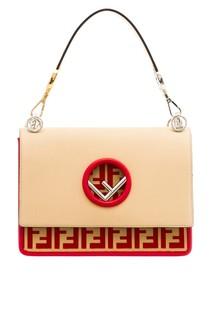 Бежевая сумка с логотипом Fendi