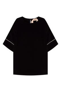 Черная полушелковая блузка No.21