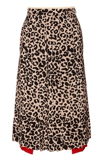 Шелковая юбка с леопардовым принтом No.21