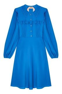 Синее платье с оборками No.21