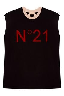 Черная футболка без рукавов No.21