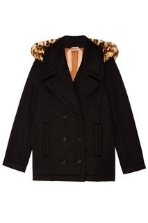 Черная двубортная куртка No.21
