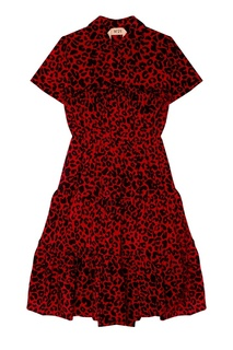 Красное платье из шелка с принтом No.21