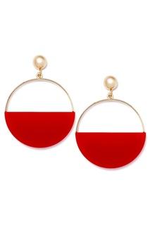 Серьги-кольца с красными вставками Aloud