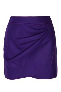Фиолетовая юбка-мини с драпировкой No.21