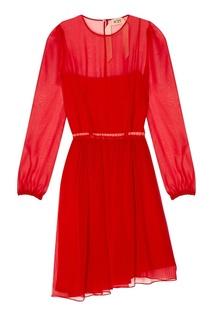 Красное шелковое платье No.21