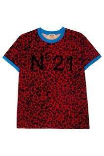 Красная футболка с леопардовым принтом No.21