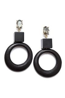 Черные серьги-кольца из дерева Aloud