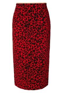 Красная юбка с леопардовым принтом No.21