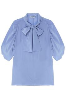 Голубая блузка с объемными рукавами Prada
