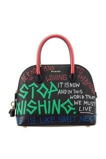 Черная сумка с ярким принтом Ville Graffiti Top Handle S Balenciaga