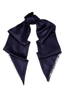 Синий платок из шелка и шерсти Fendi