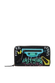 Черный кожаный кошелек с принтом Balenciaga