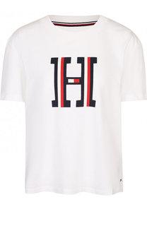 Хлопковая футболка с круглым вырезом и логотипом бренда Tommy Hilfiger