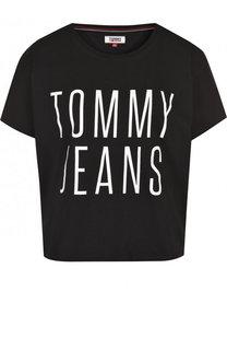 Укороченная хлопковая футболка с логотипом бренда Tommy Hilfiger