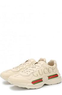 Кожаные кроссовки Rhyton на шнуровке Gucci