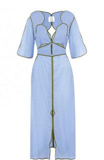 Хлопковое платье-миди с глубоким вырезом и поясом Rosie Assoulin