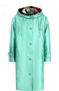 Пальто из смеси шелка и хлопка с капюшоном Giorgio Armani