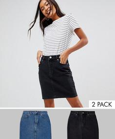 2 выбеленные джинсовые юбки с завышенной талией ASOS DESIGN - Скидка 16 - Мульти