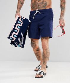 Темно-синие шорты для плавания и полотенце с принтом ASOS - Мульти
