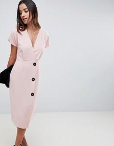 Платье миди с запахом и пуговицами по бокам ASOS DESIGN - Розовый