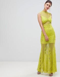 Кружевное платье макси с вырезом под горло True Decadence - Зеленый