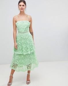 Кружевное платье миди с квадратным вырезом и ярусной юбкой True Decadence - Зеленый