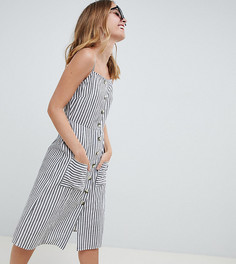 Платье миди в полоску на пуговицах ASOS DESIGN Petite - Мульти