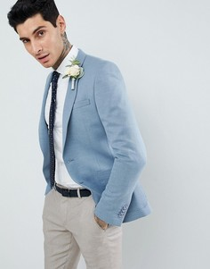Синий супероблегающий блейзер с добавлением шерсти ASOS DESIGN Wedding - Синий