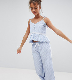 Синий хлопковый пижамный комплект в полоску Hey Peachy - Синий