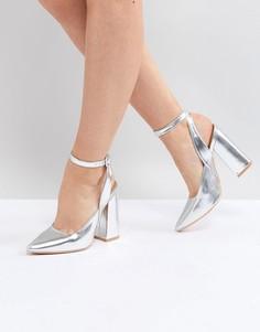 Серебристые туфли на блочном каблуке Lost Ink - Серебряный