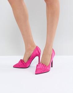 Ярко-розовые туфли на каблуке с оборками Lost Ink - Розовый