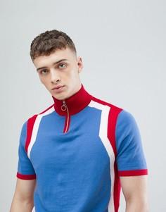 Трикотажная красно-синяя футболка на молнии ASOS DESIGN - Синий