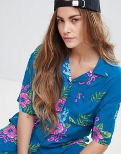 Рубашка от комплекта в тропическом стиле с принтом Santa Cruz - Темно-синий