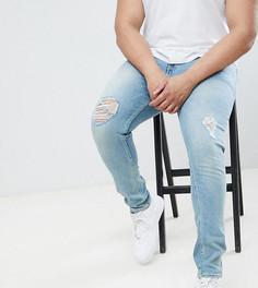 Синие джинсы скинни с рваной отделкой ASOS DESIGN Plus - Синий