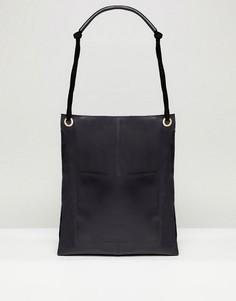 09f932271dfd Кожаная сумка-шоппер в винтажном стиле с передним карманом ASOS DESIGN -  Черный