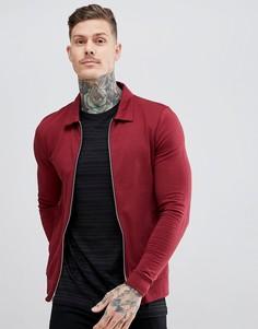 Обтягивающая бордовая куртка Харрингтон ASOS DESIGN - Красный