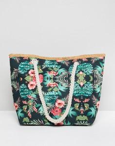 Парусиновая пляжная сумка с цветочным принтом и плетеной ручкой 7X - Мульти
