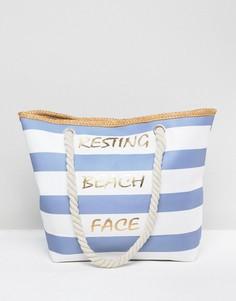 Парусиновая пляжная сумка-тоут с плетеными ручками 7X Resting - Мульти