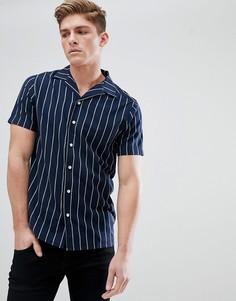 Рубашка в тонкую полоску с отложным воротником Solid - Темно-синий