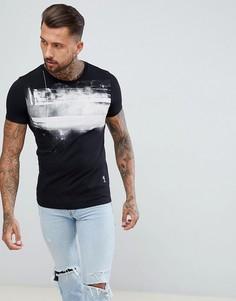 Белая обтягивающая футболка с принтом Religion - Черный