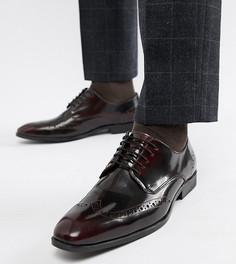 Бордовые кожаные броги для широкой стопы ASOS DESIGN - Красный